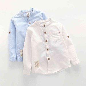 Camisa de cuello de bebé niños tops de algodón sólido New Blusa de manga larga Blusa de la escuela Ropa para niños Camisas blancas para niños pequeños 210305