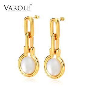 VAROLE Chain Drop Earrings For Women Imitation Pearls Cute Long Gold Color Dangle Earings Fashion Jewelry Brincos