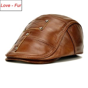 Fall Winter Men Real Cow Leather Hats Male 100% Genuine Cowhide Earflap Casual Visors Caps