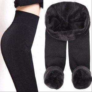 Womens Leggings Solid Thick Women Winter Velvet High Waist Elastic Push Up Polyester Leggin Skinny Plus Size