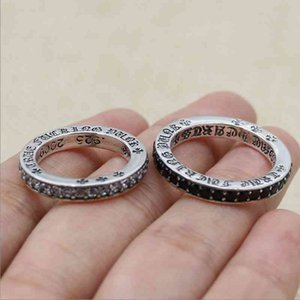 Luxury Chrome Hearts Couple Rings S925 Sterling Silver ch Croix ring Thai silver personalized cross flower Japan and South Kore