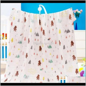 Textiles Home Garden Drop Delivery 2021 Blankets Muslin Gauze Children Towel Large Swaddling Wrap Baby Bath Towels Nursery Bedding Sheet 33 D