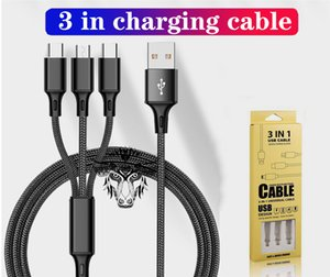 Type C USB Braided High Speed Charging Cord 3 in 1 Cable 2.1A Micro USB Quick Charger for Samsung Android Phone with Retail Packaging