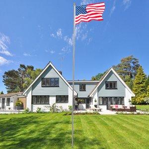 США Стоковые Изображение Американские украшения на садах 20 футов алюминиевый флаг полюс
