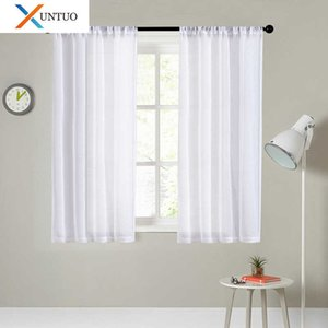 XUNTUO Modern Short Sheer Curtain for Kitchen Half Window Living Room Solid Voile Curtain Bedroom Home Decoration Tulle Drape 210712
