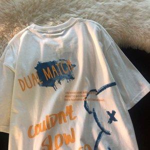 2021 new bear print short sleeve t-shirt female student Korean loose trend girl's top women's summer wear