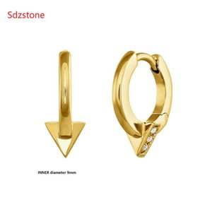 Sdzstone 2021 Mode 925 Sterling Silber 11mm Dreieck Ohrstecker Ohrringe für Frauen Weihnachtsgeschenk Koreanische Schmuck