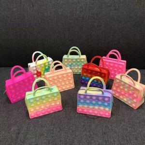 Fidget Toys Sensory Fashion color handbag small coin purse Push Bubble Tie dye Anti Stress Educational Children Adults Decompression Toy Surprise wholesale