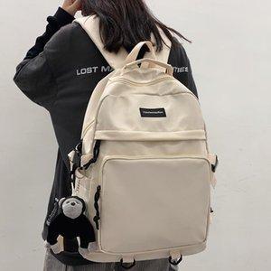 Solid Color Waterproof Nylon Women Backpack Men Large Capacity Laptop College Couples Schoolbag Travel Bag