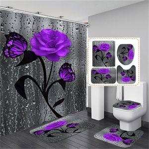 Esteira de banho floral e cortina de chuveiro cortina de chuveiro com ganchos de banho tapetes anti skid banheiro tapete tapete toalete pad o banho aperto de banho 1229 v2