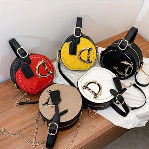 Fashion Letter Shoulder Bags Women Girls Handbag Rivet Designer Crossbody Messager Bag PU Leather Round Totes With Chain Satchel Outdoor Phone Pouch Gift