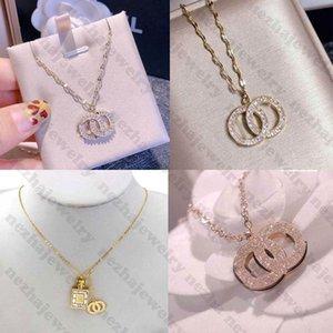 Titanium Steel Designer Necklace Designer Jewelry C Letter Women Necklace Crystal Diamond Pendant Necklaces 11 Style