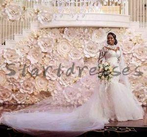 Luxury African Mermaid Wedding Dress 2021 High Neck Long Sleeve Lace Church Bridal Gowns Beaded Plus Size Bride robes de mariage vestido novia para