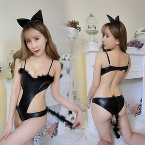 Sexy lingerie Hot Erotic Nightwear Catwoman Uniform Wild Slender Body Role Play Chest Suit Bunny Girl Uniform Temptation