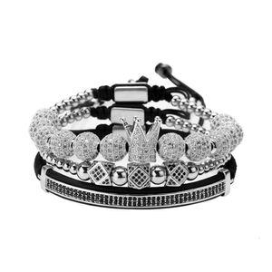 High-quality goods Hand string fashion creative hollow 8mm ball crown copper inlaid diamond bracelet Jewelry No original box vip7