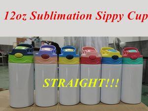 12 once Sublimation Straight Sippy Tazze per bambini Tazze per bambini Stainless Biberon Biberon Bere Bicchiere Doppia Parete Aspirapolvere Aspirazione Aspirazione Bottiglia per la cura