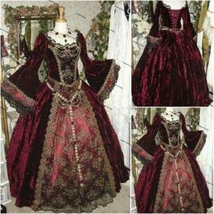 Burgundy Victorian Gothic Wedding Dresses 2022 Civil War Southern Belle Halloween Long Sleeve Lace-up Bridal Dress Plus Size