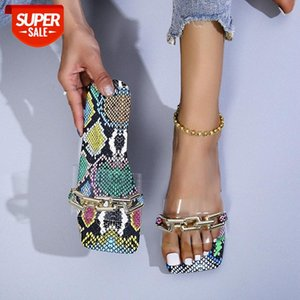 European and American summer sandals, metal chain, transparent snake pattern, one-word drag, large size casual beach ladies sandals sl #5J4Y