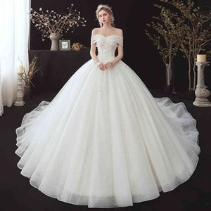 New Princess Ball Gowns Wedding 2021 Luxury Lace Robe Soiree Bride Dress Royal Train Vestido De Noiva