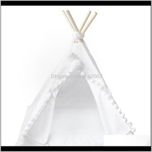 Shelters Teepee Tent Kids Foldable Children Play Tents For Girls Boys 100 Cotton Canvas Playhouse Toys Girl And Child Qhgvf V935U
