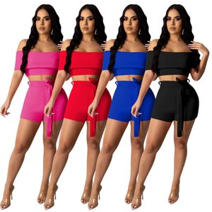 Women's Two Piece Pants Tracksuits Suit 2 piecess pant Slash Neck Short Sleeve tshirt Crop Top + shorts Solid chest wrapped suits plus size S M L XL 2XL red blue