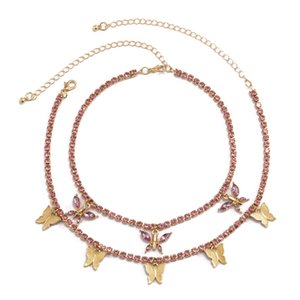 Boho Charm Bling Pink Crystal Butterly 펜던트 초커 목걸이 목걸이 목걸이 목걸이 목걸이 목걸이 2021 고트 보석 여성을위한 1337 Q2