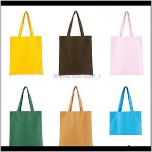Storage Colorful Blank Pattern Canvas Shopping Bags Eco Reusable Foldable Shoulder Handbag Cotton Tote Bag Wholesale Custom Logo P23Ts Vgfvl