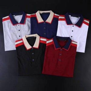 الرجال بولس الكلاسيكية رسالة و مخطط نمط رجل الأزياء قمم قميص بولو التباين اللون عارضة قصيرة الأكمام الرجال TES7586