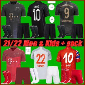 Erkekler + Çocuk Kiti 2021 Bayern Sane Münih Futbol Forması 2022 Hernandez Coutinho Lewandowski Gnabry Coman 4. Futbol Gömlek