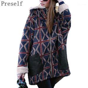 Preself New Women Winter Warm Casual Thicken Plus Size Outwear Print Hooded Long Coat1