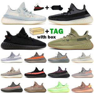 2021 Kanye الرجال النساء احذية الجري Ash Pearl Carbon Zebra Earth Sand Taupe Bred Blue Tint Cloud White أحذية رياضية للرجال مع صندوق