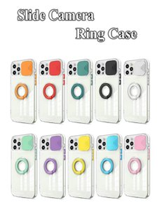 Slide Window Clear Soft TPU Shockproof Ring Phone Cases for iPhone 12 11 Pro Max XR XS X Mini 6S 7G 8 Plus