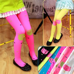 Kids Girls Colored Tights Velvet Candy Colors Cute Cat Fish Tights for Baby Children Pantyhose Stocking Autumn 920 X2