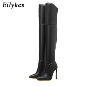 Eilyken Sexy Over The Knee Boots High Quality PU Leather Pointed Toe Stiletto Heels Women Shoes Nightclub Pumps 210913