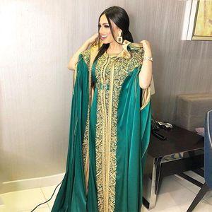 Moroccan Caftan Satin Evening Dresses with Cape Hunter Green Appliques Lace Muslim Prom Dubai Arabic Women Party Dress robe