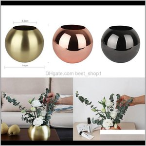 Vases Décor Garden Drop Delivery 2021 Stainless Steel Unbreakable Metal Vase Living Room Golden Black Polished Flowerpot Home Flower Decor 2V