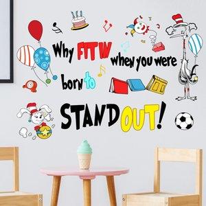 Zsz1904-g Creative English Balloon Cartoon Animal Wall Sticker Bedroom Living Room Children's Background Decorative CCCH723
