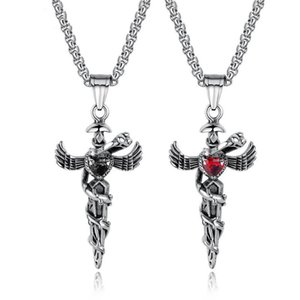 Exaggerated Punk Heart Cross Titanium Steel Necklace For Men Retro Angel Wing Snake Stainless Pendant Boys Jewelry Gift Necklaces