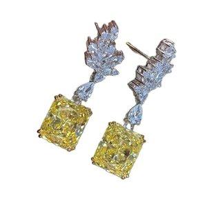 Dangle & Chandelier Elegant Flower Feather Topaz Drop Earrings For Women 925 Sterling Silver Earring Wedding Party Fine Jewelry Wholesale