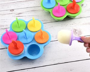 colorful Ice Cream Tools Silicone Creative Children's Complementary Food Box 7 Hole Tubs Boxes Cheese Mold Kitchen CCF6554