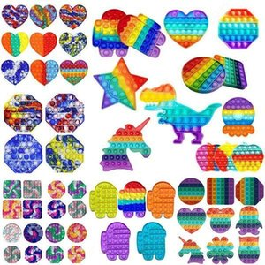 100 Stili da scegliere Rainbow Push Fidget Toy Toy Sensory Push Bubble Fidget Autismo sensoriale Autismo Speciale esigenze ansia Stress per ufficio fluorescenza