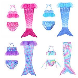 Girls Cosplay Maillot de bain 3pcs Mermaid Tail Maillots de bain pour enfants Mermaid Piscine de bain Piscine de bain Filles Sirène Princess Party Costumes 726 S2
