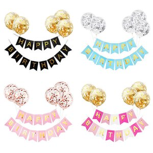 6Pcs set Happy Birthday Letter Banner Garland with Confetti Latex Balloons Boy Girl Kids Birthday Party Decoration Baby Shower Y0923