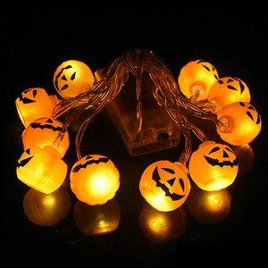 2021 Nuevo 10LED Halloween Pumpkin Spider Spider Skull String Light Light Lámpara DIY Colgando Horror Decoración de Halloween para suministros para la fiesta en casa