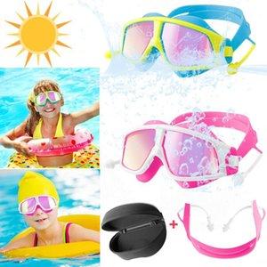 الأطفال أطفال المراهقون قابل للتعديل نظارات السباحة المضادة للضباب uv حماية نظارات السباحة نظارات العين النظارات earplugs
