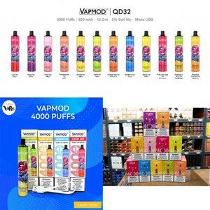 Otantik VAPMOD QD32 Tek Kullanımlık Cihaz Kiti E-Sigaralar 4000 Puffs 650 mAh Şarj Edilebilir Pil 12 ml Önceden Tedarik Kartuş Pod Vape Sopa Kalem 100% Orijinal
