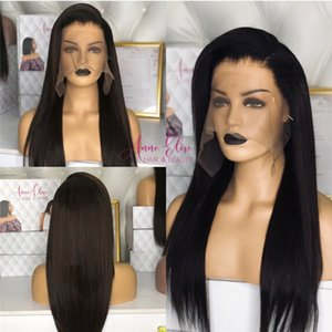 Human Hair Pre-lace Wigs Freely divided black long straight hairs wig chemical fiber