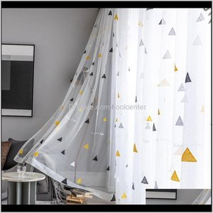 Curtain & Drapes Simple Kids Triangle Embroidered Tulle Curtains Children'S Bedroom Window Treatments Modern Sheer For Living Room Z7Y Gscky