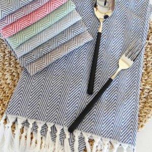 Table Napkin Handmade Tassel Woven Cotton Yarn Dyeing Kitchen Placemat Home Desktop Decoration Supplies