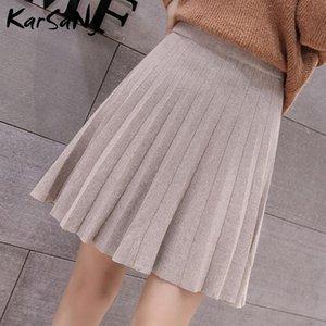 Skirts Knitted Pleated Mini Skirt Women Spring 2021 Short Womens High Waist Knit For Vintage